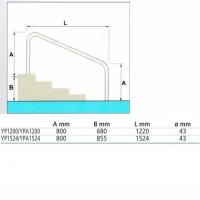 Поручень Fiberpool YPA1524 (150 см) для рим. лестницы