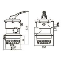 Кран шестиходовой 2'' с верхним подключением Aquaviva MPV02