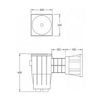 Скиммер под бетон Fiberpool YAEH041 (SKA.C) широкий