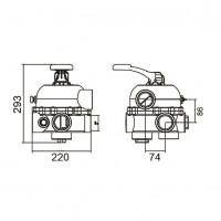 Кран шестиходовой 2'' с боковым подключением Aquaviva MPV04