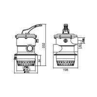 Кран шестиходовой Aquaviva 2'' (верхнее подключение) для фильтров серии V